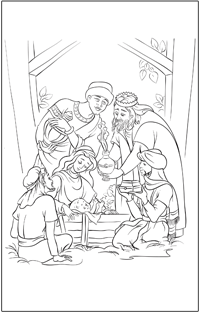 COLOURING PAGE: Christmas nativity with three wise men | Baby Hints & Tips