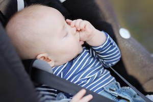 Discouraging thumb sucking baby