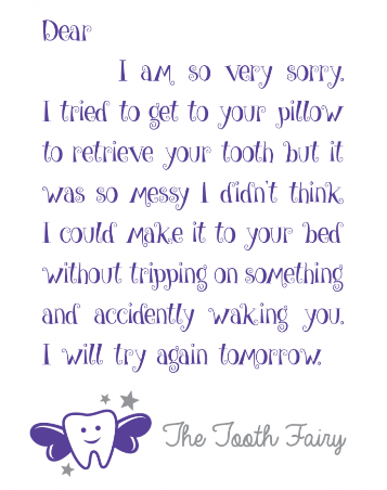 Tooth Fairy Messy Room Letter