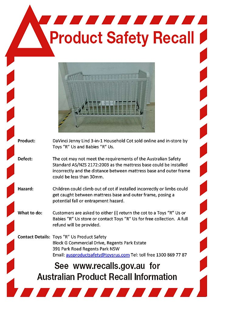 Recall On Toys R Us Cot Baby Hints And Tips