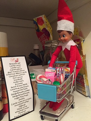 Elf on the shelf shopping in the pantry