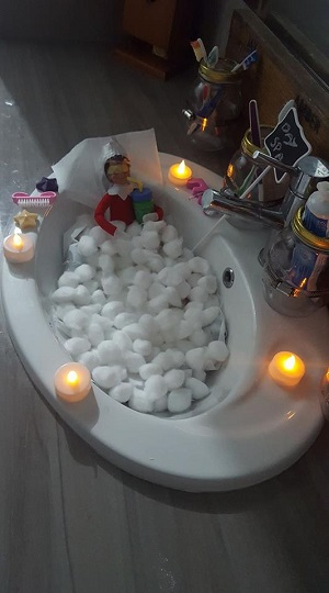 elf on the shelf at the day spa