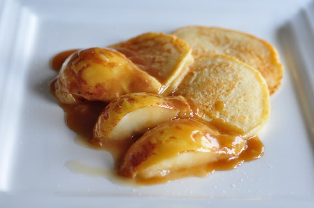 Ricotta Pancakes with Salted Caramel Pear recipe