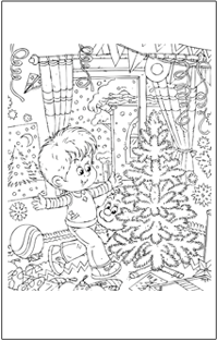 COLOURING : Christmas boy and cat with tree | Baby Hints & Tips