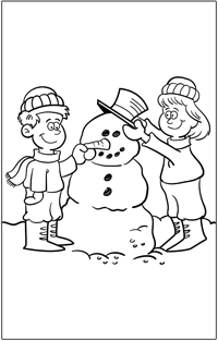 CHRISTMAS COLOURING : Christmas boy and girl building snowman | Baby Hints & Tips