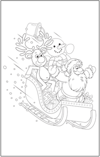 CHRISTMAS COLOURING : Christmas-santa-on-sleigh