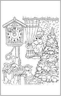 COLOURING : Christmas santa peeking in the window | Baby Hints & Tips