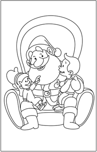 COLOURING : Christmas-santa-with-kids