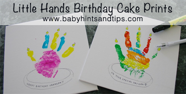 Handprint birthday card Crafts for kids Baby Hints and Tips