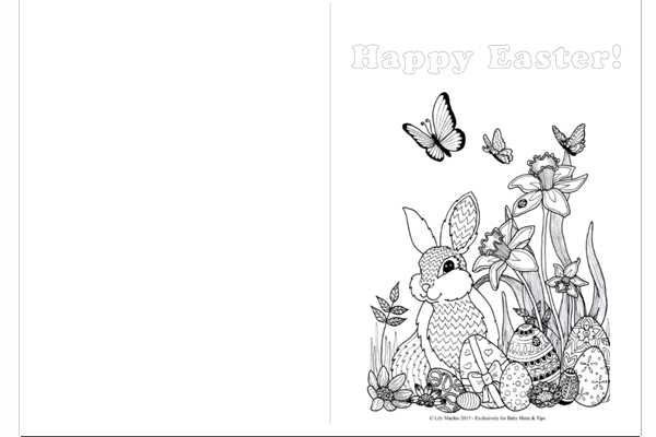 Printable Easter Colouring Pages and Easter Card