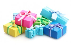 bright gifts withgifts for new mums bows isolated on white