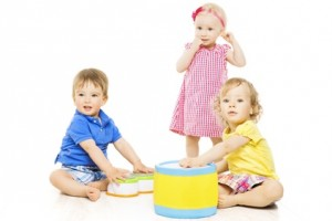 Children playing toys. Small Kids and Baby development, isolated over white background