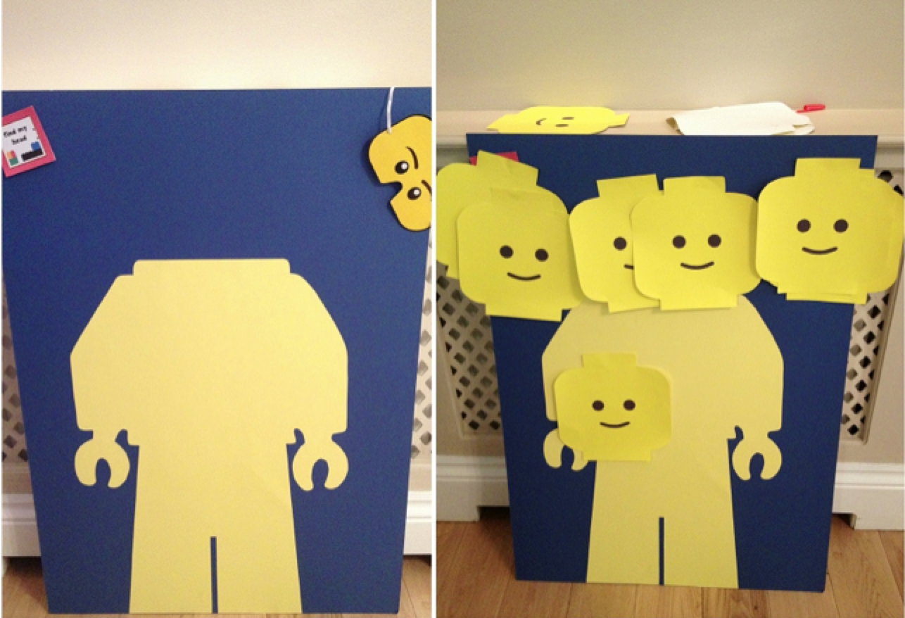 pin the head on the lego - Lego party games