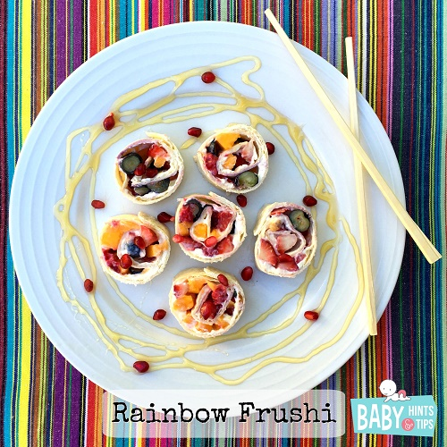 Rainbow Frushi: food art with fruit sushi