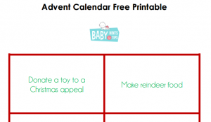 Free printable Advent calendar cards