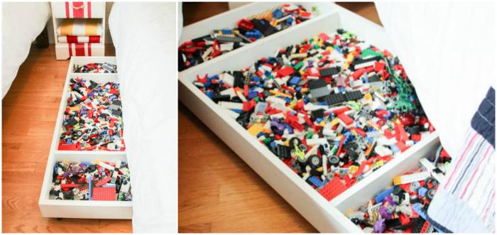 Under bed lego storage