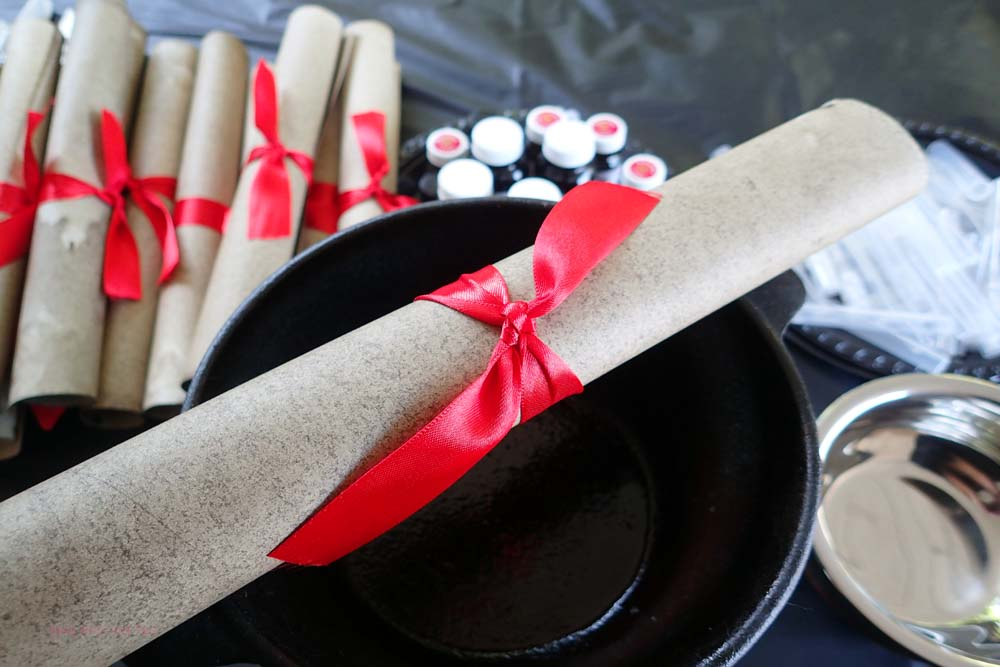 Parchment Scrolls for a Harry Potter Party