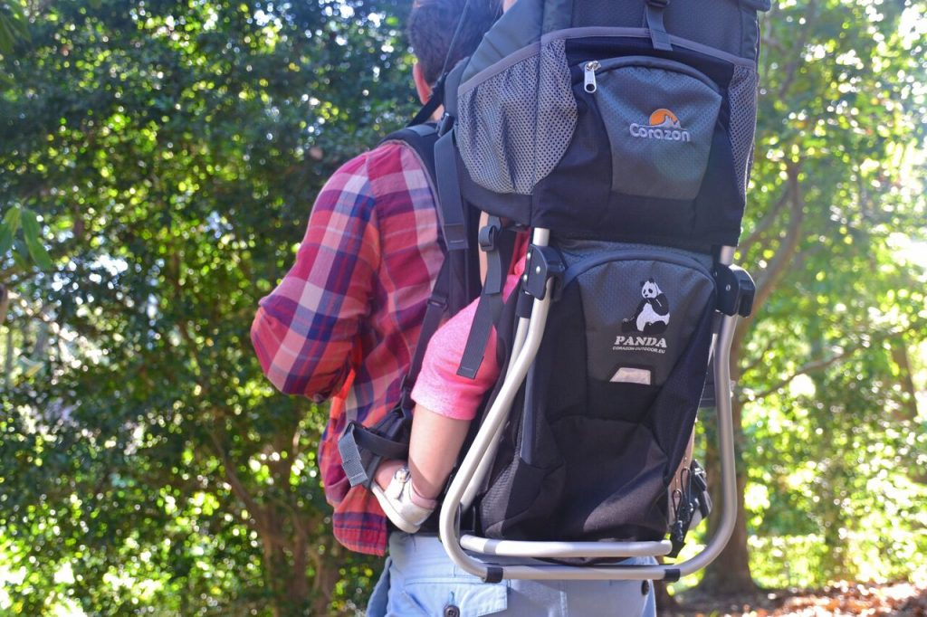 Panda Child Carrier on a hike