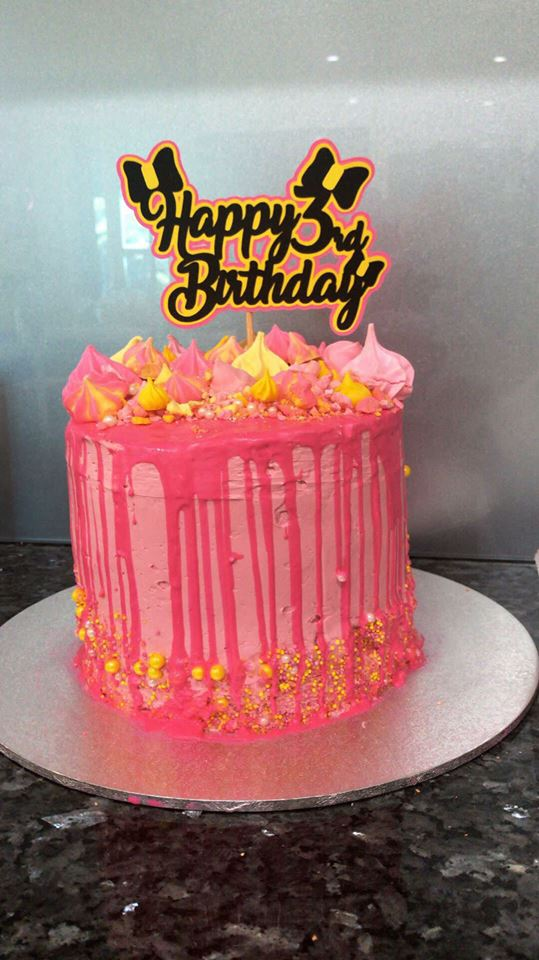 3 tier pink birthday cake using woolworths premade cake