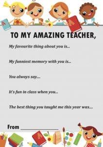 Thank you teacher letter